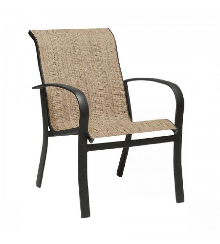 fremont sling dining arm chair stackable