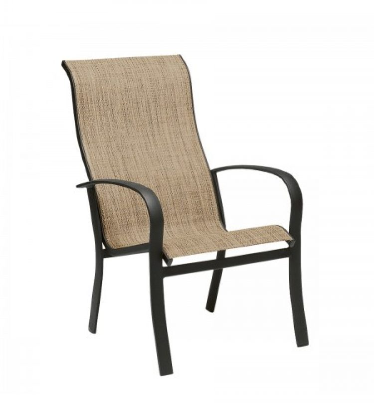 fremont sling high back dining arm chair stackable