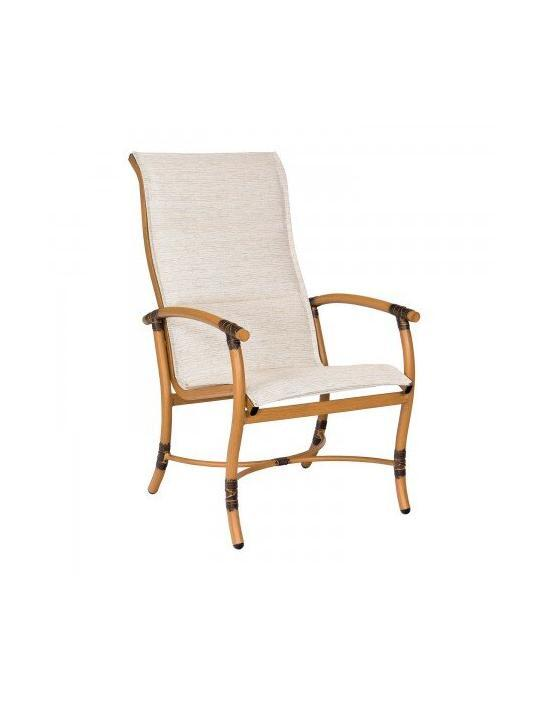 Glade Isle Padded Sling High Back Dining Arm Chair