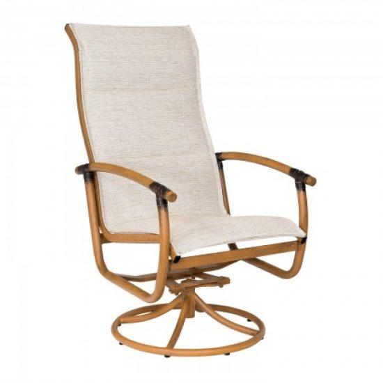 Glade Isle Padded Sling High Back Swivel Rocker Dining Arm Chair