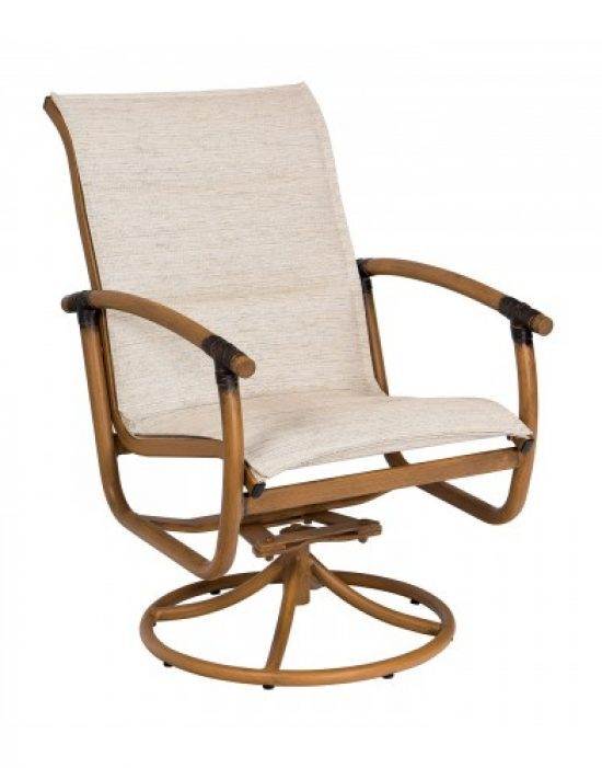 Glade Isle Padded Sling Swivel Rocker Dining Arm Chair