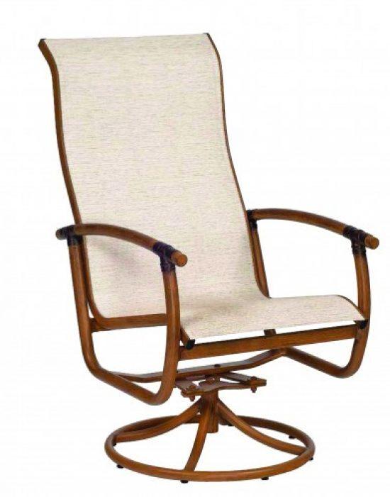 Glade Isle Sling High Back Swivel Rocker Dining Arm Chair