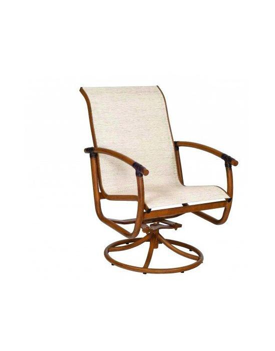 Glade Isle Sling Swivel Rocker Dining Arm Chair