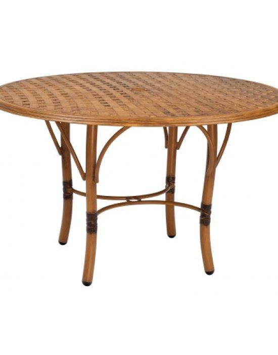 Glade Isle Tables Round Dining Table With Thatch Top