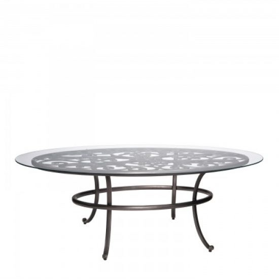 New Orleans Oval Umbrella Table With Glass Top