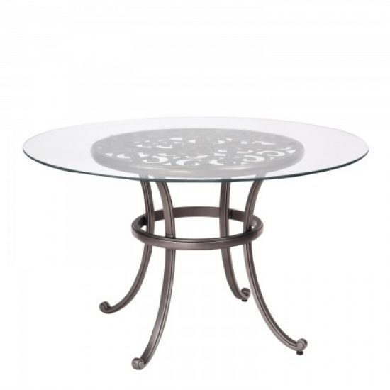 New Orleans Round Umbrella Table With Glass Top