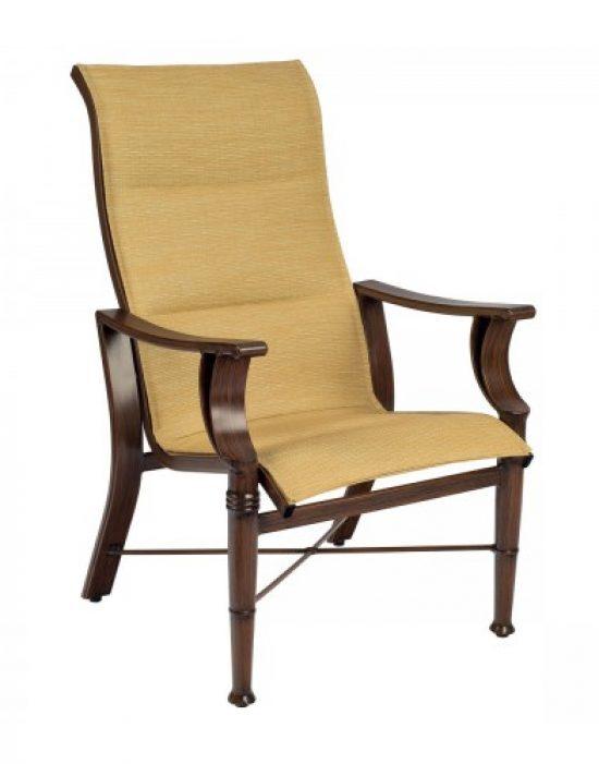 Arkadia Padded Sling High-Back Dining Arm Chair