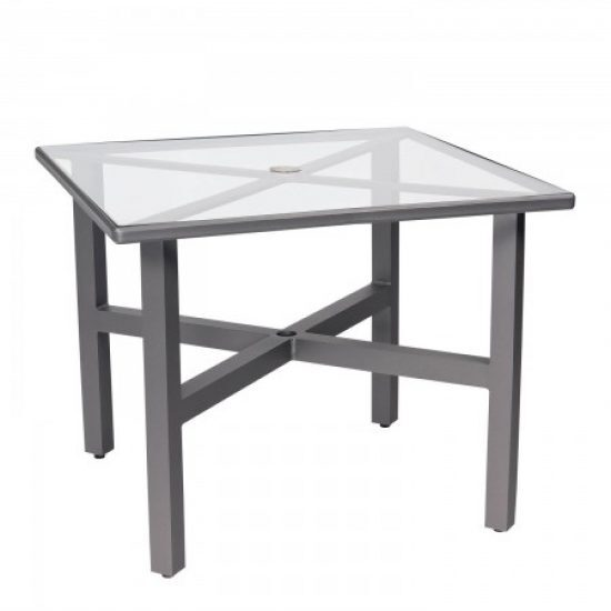 """Palm Coast 36"""" Square Umbrella Table With Clear Glass"""