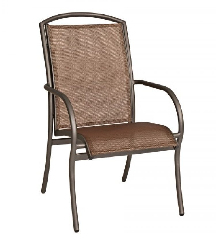 rivington sling dining arm chair stackable