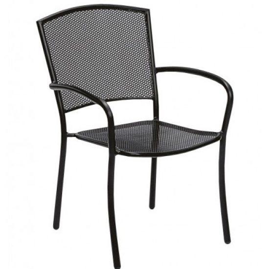 Café Series Albion Textured Black Arm Chair - Stackable