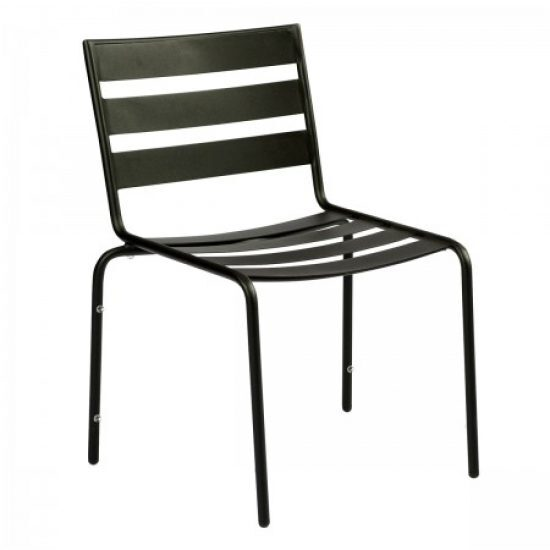 Café Series Metro Textured Black Dining Side Chair - Stackable