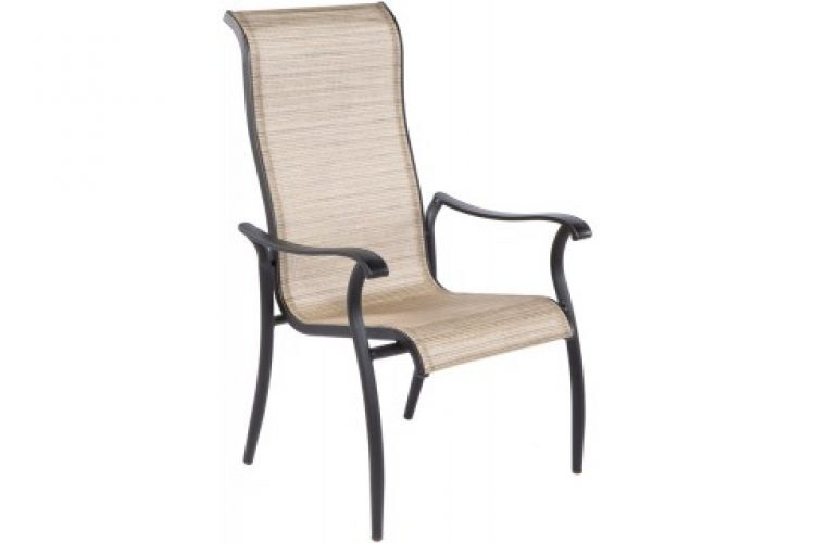 charter hi back sling cast stackable dining arm chair