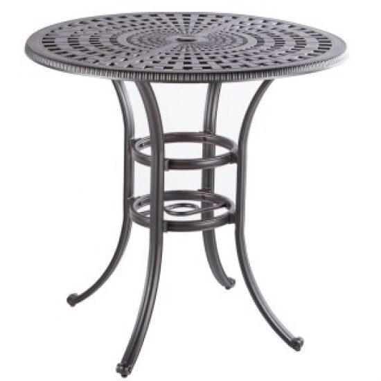 "COBBLESTONE 42"" ROUND BAR TABLE WITH UMBRELLA HOLE - ANTIQUE TOPAZ"
