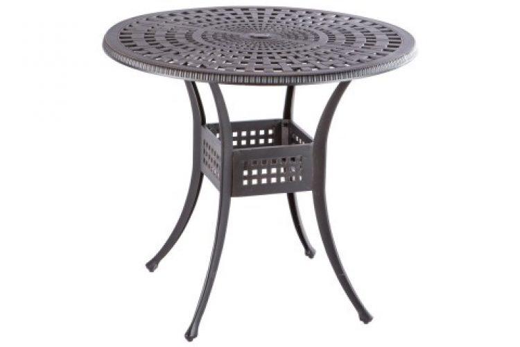 cobblestone 42 round gathering table with umbrella hole antique topaz