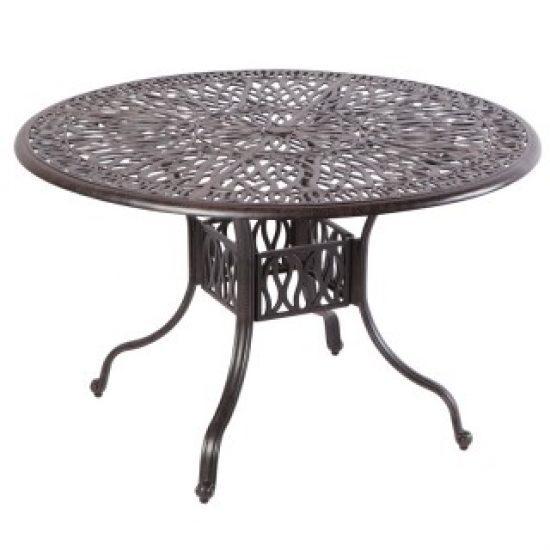 """KALEIDOSCOPE 42"""" ROUND GATHERING TABLE WITH UMBRELLA HOLE - ANTIQUE WINE"""