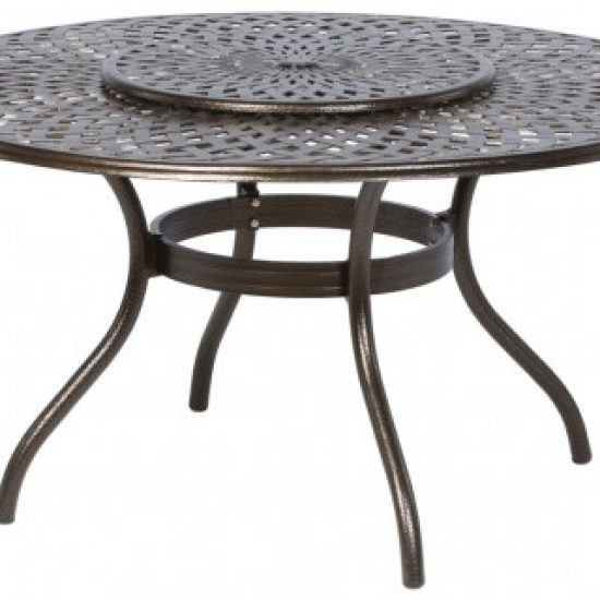 """KINGSTON WEAVE 59"""" ROUND DINING TABLE WITH UMBRELLA HOLE AND LAZY SUSAN"""