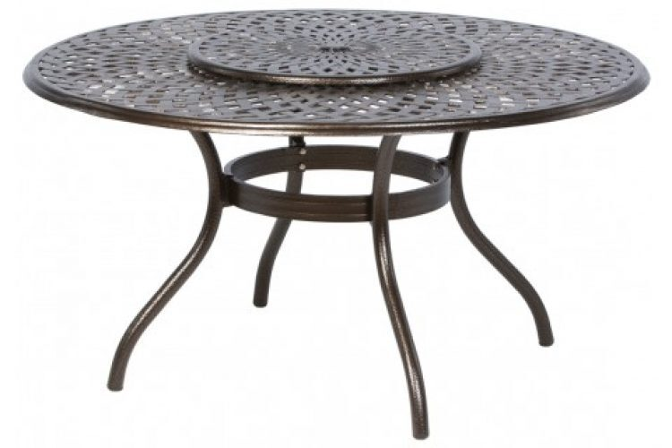 kingston weave 59 round dining table with umbrella hole and lazy susan