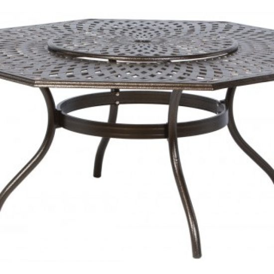 """KINGSTON WEAVE 71"""" OCTAGONAL DINING TABLE WITH UMBRELLA HOLE AND LAZY SUSAN"""