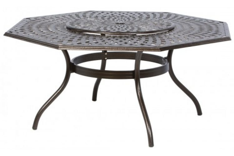 kingston weave 71 octagonal dining table with umbrella hole and lazy susan