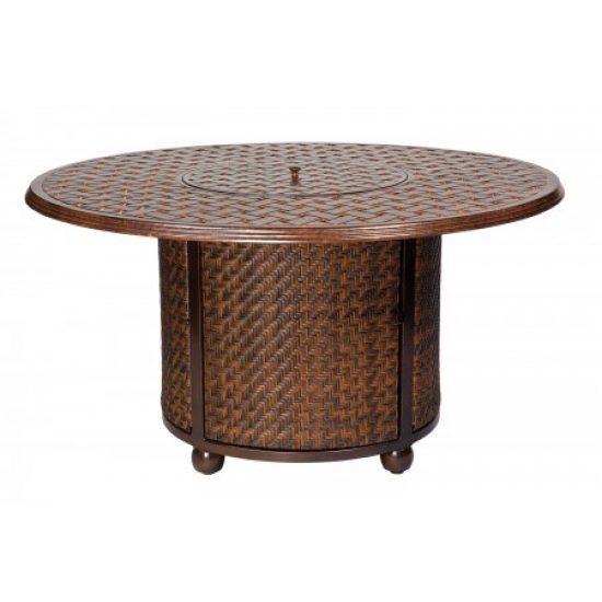North Shore Fire Woven Table Base With Round Thatch Top