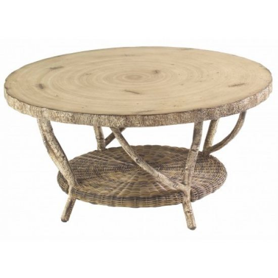 River Run Coffee Table With Faux Birch Top