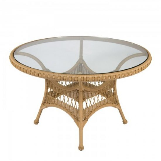 """Sommerwind 48"""" Round Dining Table With Glass Top"""