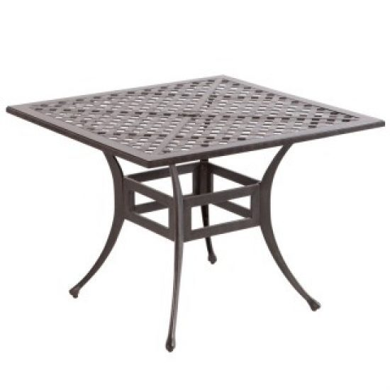 """WEAVE 40"""" SQUARE DINING TABLE WITH UMBRELLA HOLE - ANTIQUE FERN"""