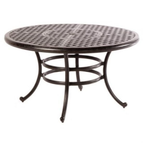 """WEAVE 52"""" ROUND DINING TABLE WITH UMBRELLA HOLE - ANTIQUE FERN"""