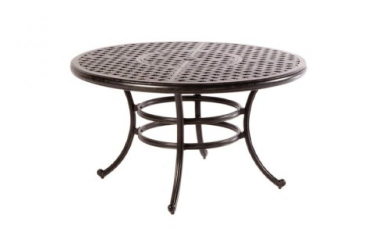 weave 52 round dining table with umbrella hole antique fern