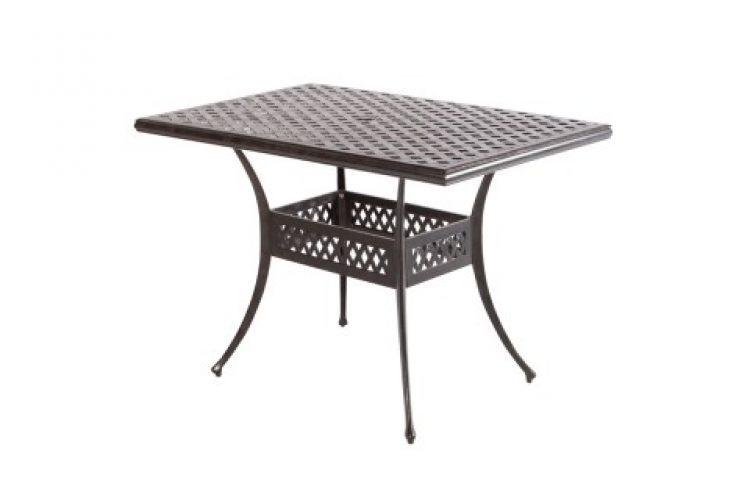weave 56 x 36 rectangular gathering table with umbrella hole antique fern