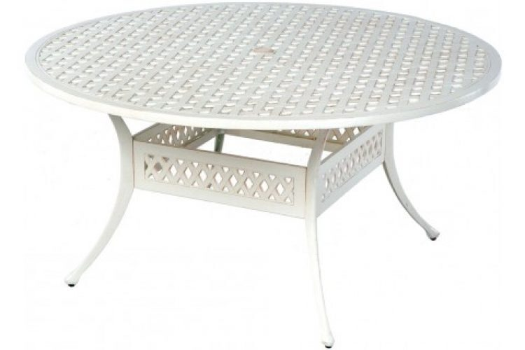 weave 60 round dining table with umbrella hole
