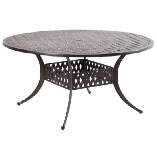 """WEAVE 60"""" ROUND DINING TABLE WITH UMBRELLA HOLE - ANTIQUE FERN"""