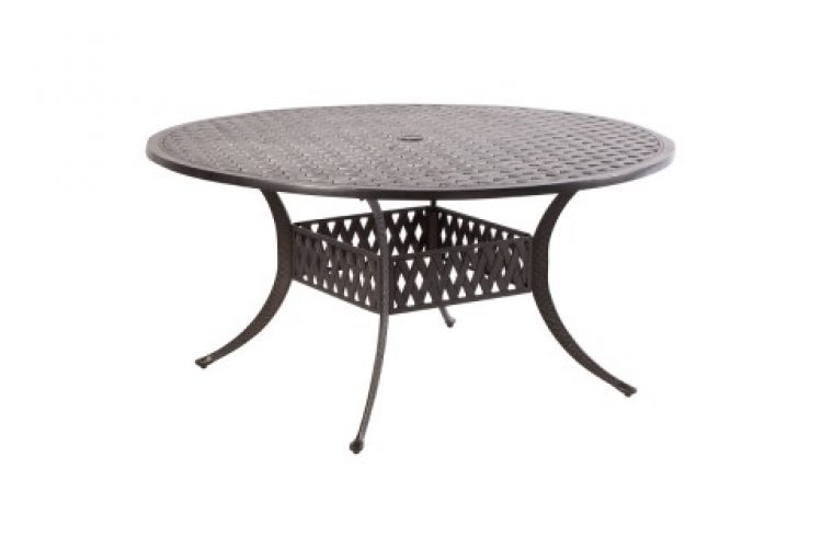weave 60 round dining table with umbrella hole antique fern