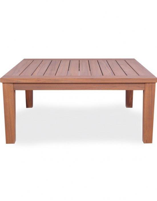 "UNIVERSAL TEAK 40"" SQUARE TAPERED LEG COCKTAIL TABLE"