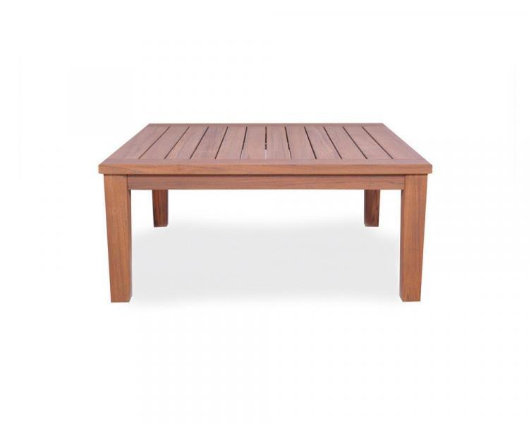 universal teak 40 square tapered leg cocktail table