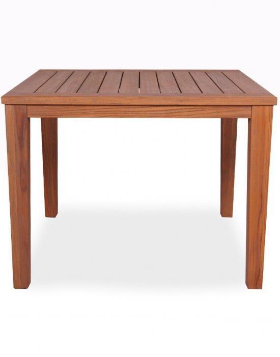 "UNIVERSAL TEAK 40"" SQUARE TAPERED LEG DINING TABLE"