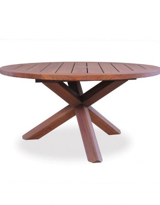 "UNIVERSAL TEAK 48"" ROUND CROSS-BASE CONVERSATION TABLE"