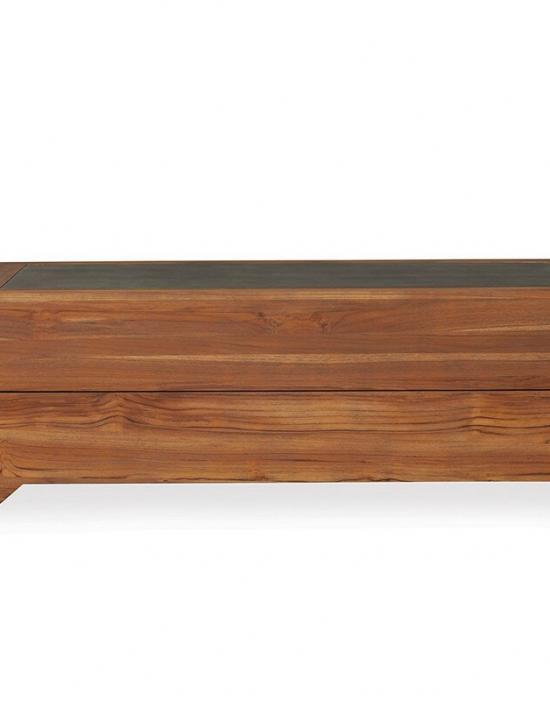 """UNIVERSAL TEAK 54"""" RECTANGULAR COCKTAIL TABLE WITH FAUX CONCRETE TOP"""