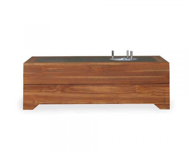 universal teak 54 rectangular ecosmart fire cocktail table