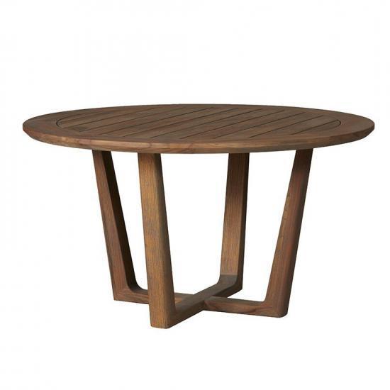 """UNIVERSAL TEAK 54"""" ROUND SLED BASE DINING TABLE"""