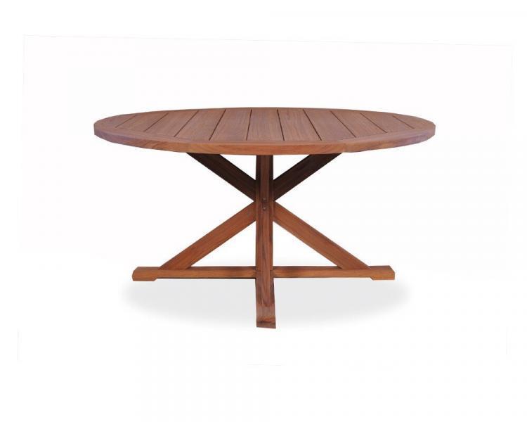 universal teak 60 round trestle base dining table