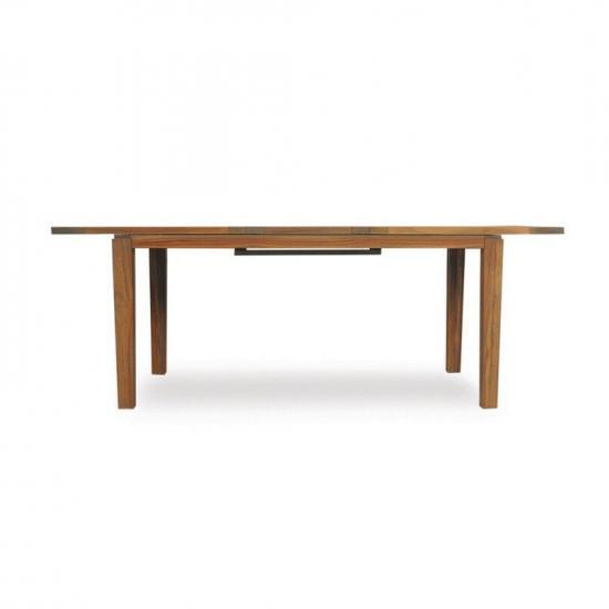 """UNIVERSAL TEAK 84"""" BUTTERFLY LEAF TAPERED LEG DINING TABLE"""