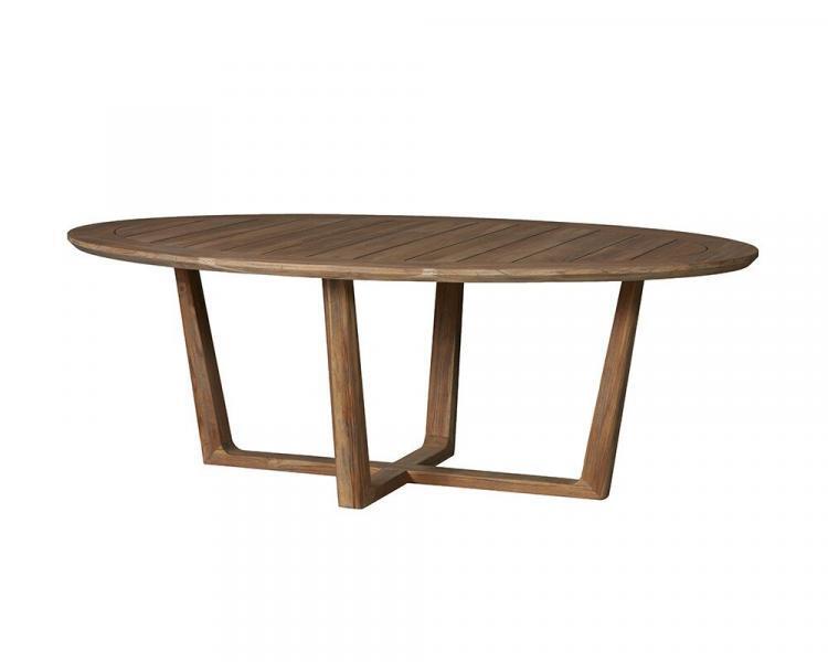universal teak 84 oval sled base dining table