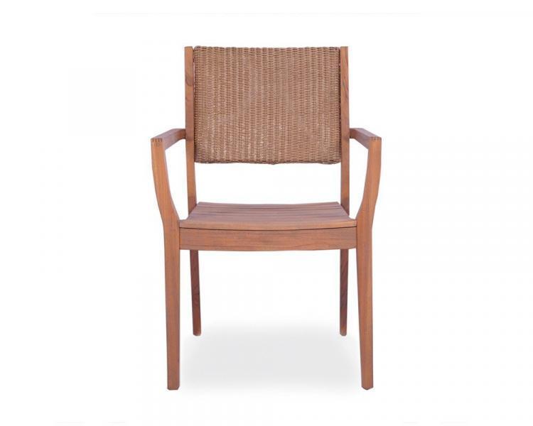 universal teak loom back dining chair